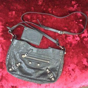 Balenciaga Metallic Edge AJ Crossbody Bag, Grey